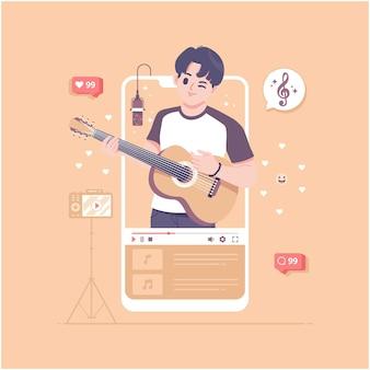 Ilustración de vector de concepto de video de guitarrista