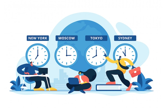 Ilustración de vector de concepto de zonas horarias