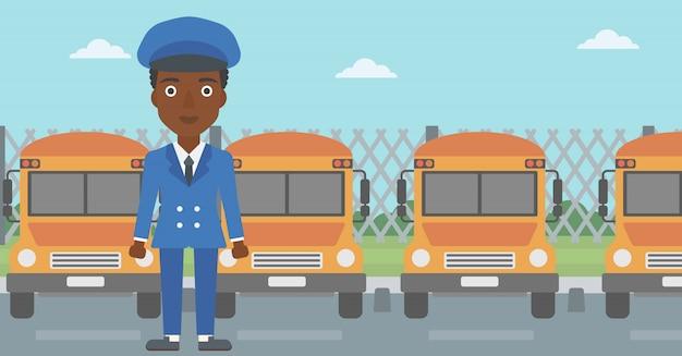 Ilustración de vector de conductor de autobús escolar.