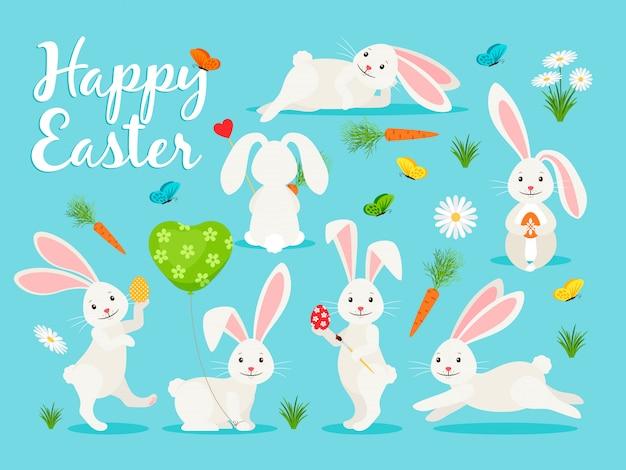 Ilustración de vector de conejito oriental. conejo feliz para la colección de pascua