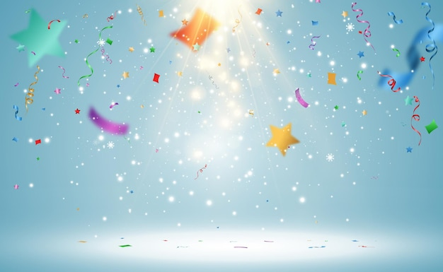 Ilustración de vector de confeti cayendo sobre un fondo transparente