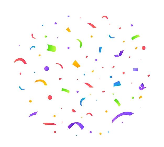 Ilustración de vector de confeti fondo festivo concepto de fiesta cintas voladoras aisladas