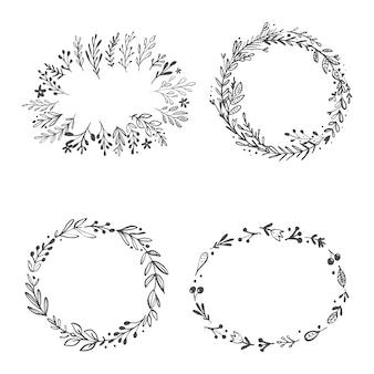 Ilustración de vector de un conjunto de coronas florales.