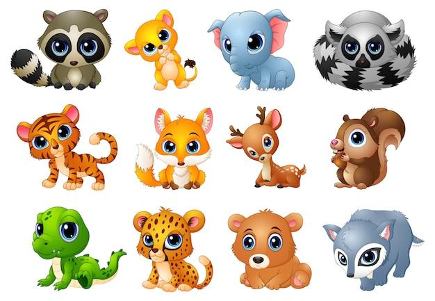 Ilustración de vector de conjunto de dibujos animados de animales lindos