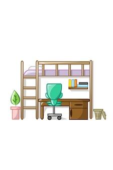 Ilustración de vector de conjunto de dormitorio