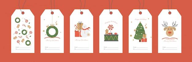 Ilustración de vector. conjunto de etiquetas de regalo de navidad.