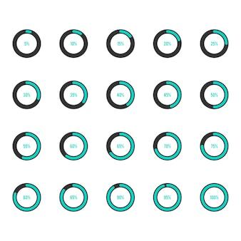 Ilustración de vector de conjunto de iconos de barra de progreso de círculo moderno