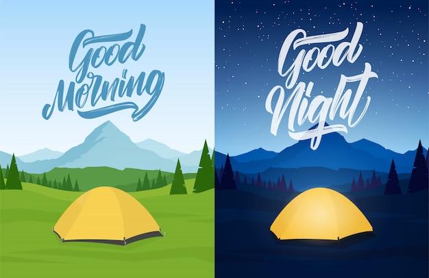 Ilustración del vector: conjunto de paisaje de dos montañas con campamento de tiendas, mano lettring de buenos días y buenas noches.