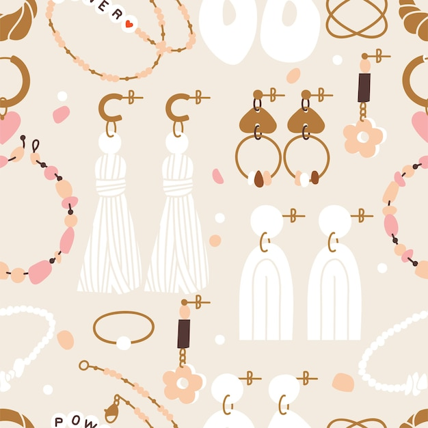 Ilustración de vector conjunto de patrones sin fisuras de artículos de joyería. accesorios modernos: collar de perlas, abalorios, anillo, pendientes, pulsera, peineta.