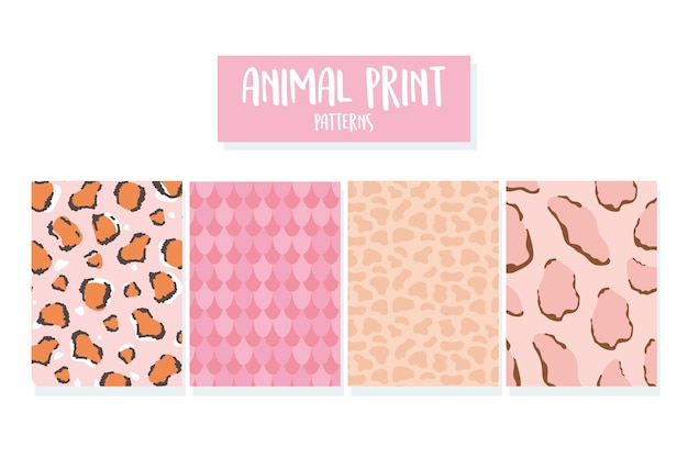 Ilustración de vector de conjunto de patrones sin fisuras de piel de animal salvaje de moda