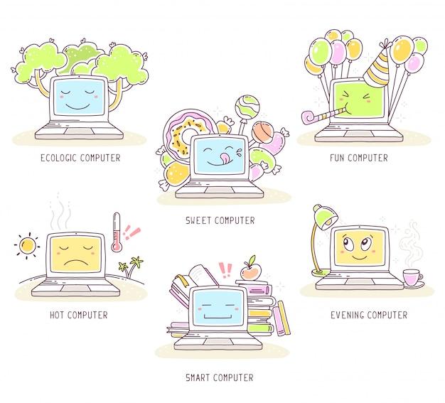 Ilustración de vector de conjunto de portátil con texto sobre fondo blanco. diseño plano de laptop