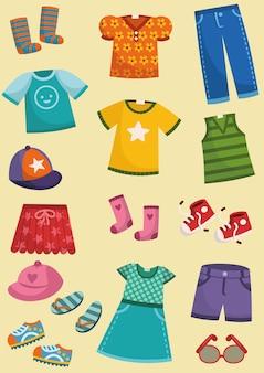 Ilustración de vector de conjunto de ropa para niños