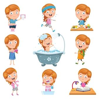 Ilustración de vector conjunto de rutinas diarias de niña