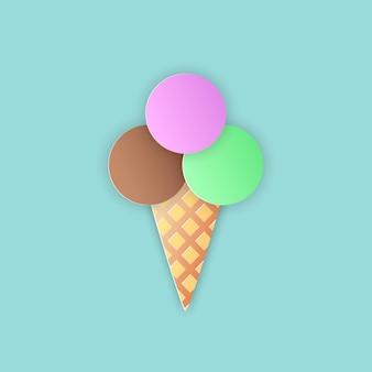 Ilustración de vector, cono de helado con una bola marrón, verde y rosa en el cuerno en estilo papercut con sombras transparentes aisladas sobre fondo azul
