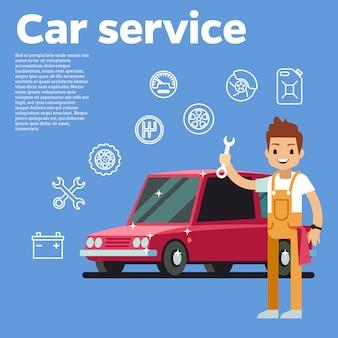 Ilustración de vector de consejos de coches. mecánico de automóviles con llave contra el coche rojo sobre fondo. auto servicio de reparación de coches, técnico hombre