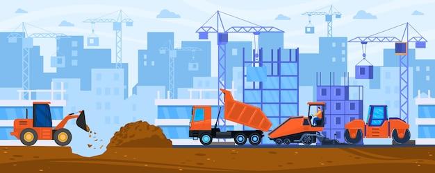 Ilustración de vector de construcción de carreteras. el compactador de apisonadora de tractor plano de dibujos animados y la máquina pavimentadora trabajan en la construcción de calles o carreteras de la ciudad, construyen maquinaria pesada