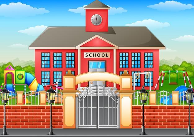 Ilustración de vector de la construcción de la escuela y área de juegos infantiles
