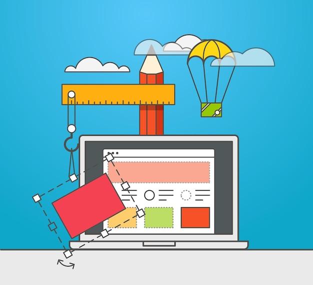 Ilustración de vector de constructor de sitio web. concepto de diseño web