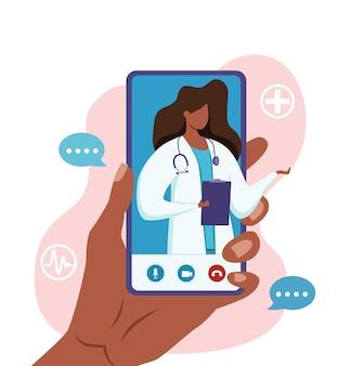 Ilustración de vector de consulta médica médico afroamericano en línea.