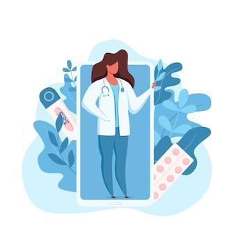 Ilustración de vector de consulta médica médico en línea.