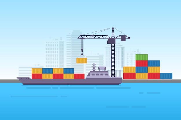 Ilustración de vector de contenedor de logística de carga de buque de carga marítima industrial