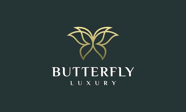 Ilustración de vector de contorno de mariposa de logotipo elegante