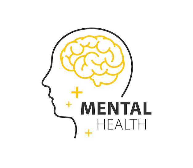 Ilustración de vector de contorno de salud mental