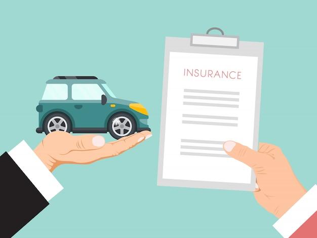Ilustración de vector de contrato de seguro de automóvil. las manos sostienen la póliza de seguro y el automóvil. contrato de seguro de automóvil para familia