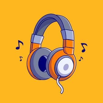 Ilustración de vector de cool headphone con barra de música