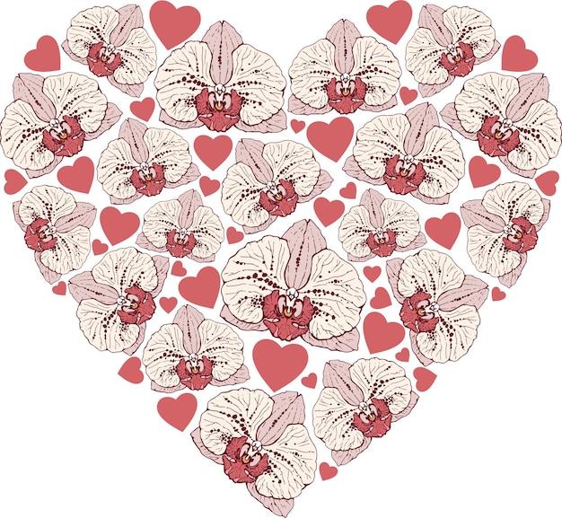 Ilustración de vector con corazón de flores de orquídeas aisladas sobre fondo blanco