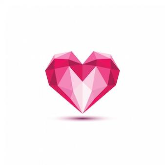 Ilustración de vector de corazón poligonal.