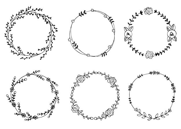 Ilustración de vector de coronas dibujadas a mano elementos de diseño para invitaciones