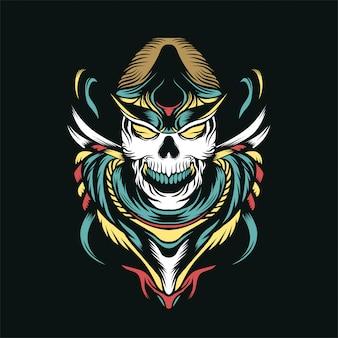 La ilustración de vector de cráneo de cazador