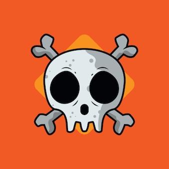 Ilustración de vector de cráneo dibujos animados