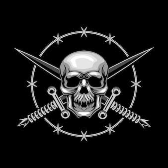 Ilustración de vector de cráneo y espadas cruzadas