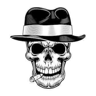 Ilustración de vector de cráneo de gángster. cabeza de esqueleto con sombrero con cigarro en la boca. concepto criminal y mafioso para emblemas de pandillas o plantillas de tatuajes