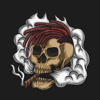 Ilustración de vector de cráneo humo para su empresa o marca
