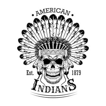 Ilustración de vector de cráneo indio americano. cabeza de esqueleto con tocado de plumas y texto. nativos americanos y concepto de indio rojo para plantillas de emblemas o etiquetas