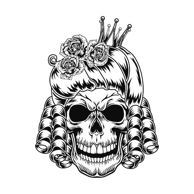 Ilustración de vector de cráneo de reina. cabeza de personaje aterrador con peinado real y corona.