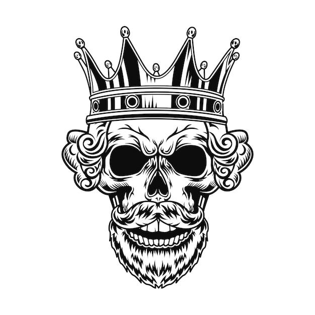 Ilustración de vector de cráneo de rey. cabeza de personaje con barba, peinado real y corona.