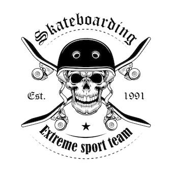 Ilustración de vector de cráneo de skater. cabeza de personaje con patinetas cruzadas y texto.