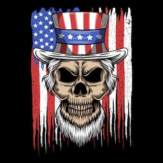 Ilustración de vector de cráneo tío sam usa bandera