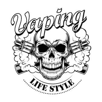 Ilustración de vector de cráneo vaping feliz. personaje de dibujos animados monocromo con cigarrillos electrónicos y vapor, texto de estilo de vida