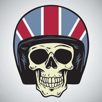 Ilustración de vector de cráneos con casco de motocicleta inglaterra