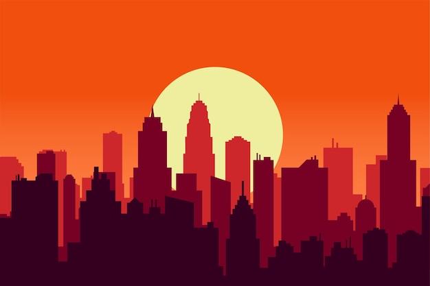 Ilustración de vector de crepúsculo de cielo al atardecer de silueta de ciudad escénica