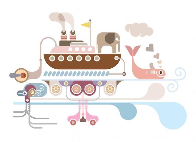 Ilustración de vector de crucero al mar