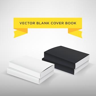 Ilustración de vector de cubierta de libro en blanco. libro o revista de tapa blanda. color blanco y negro plantilla para su diseño