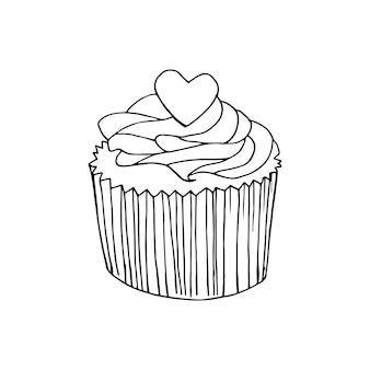 Ilustración de vector cupcake. pasteles de doodle con crema y bayas.