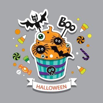 Ilustración de vector de cupcakes de halloween