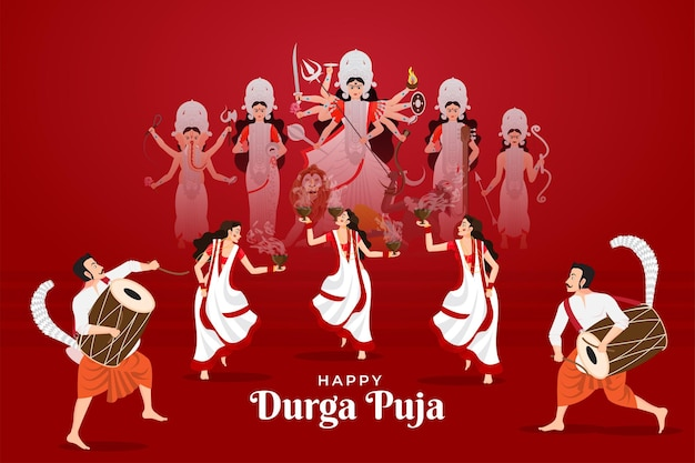 Ilustración de vector de damas bailando con dhunuchi y hombres jugando dhak para happy durga puja